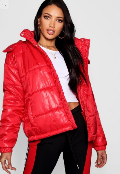 Hooded Cire Puffer Jacket